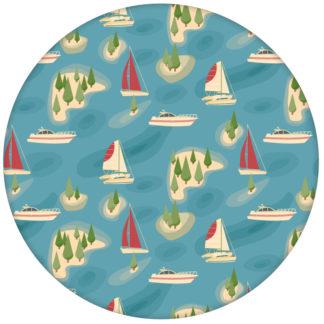"""Moderne blaue Vliestapete """"Insel Hopping"""" mit Yachten und Segel-Booten in rot aus den Tapeten Neuheiten Borten und Tapetenmotive als Naturaltouch Luxus Vliestapete oder Basic Vliestapete"""