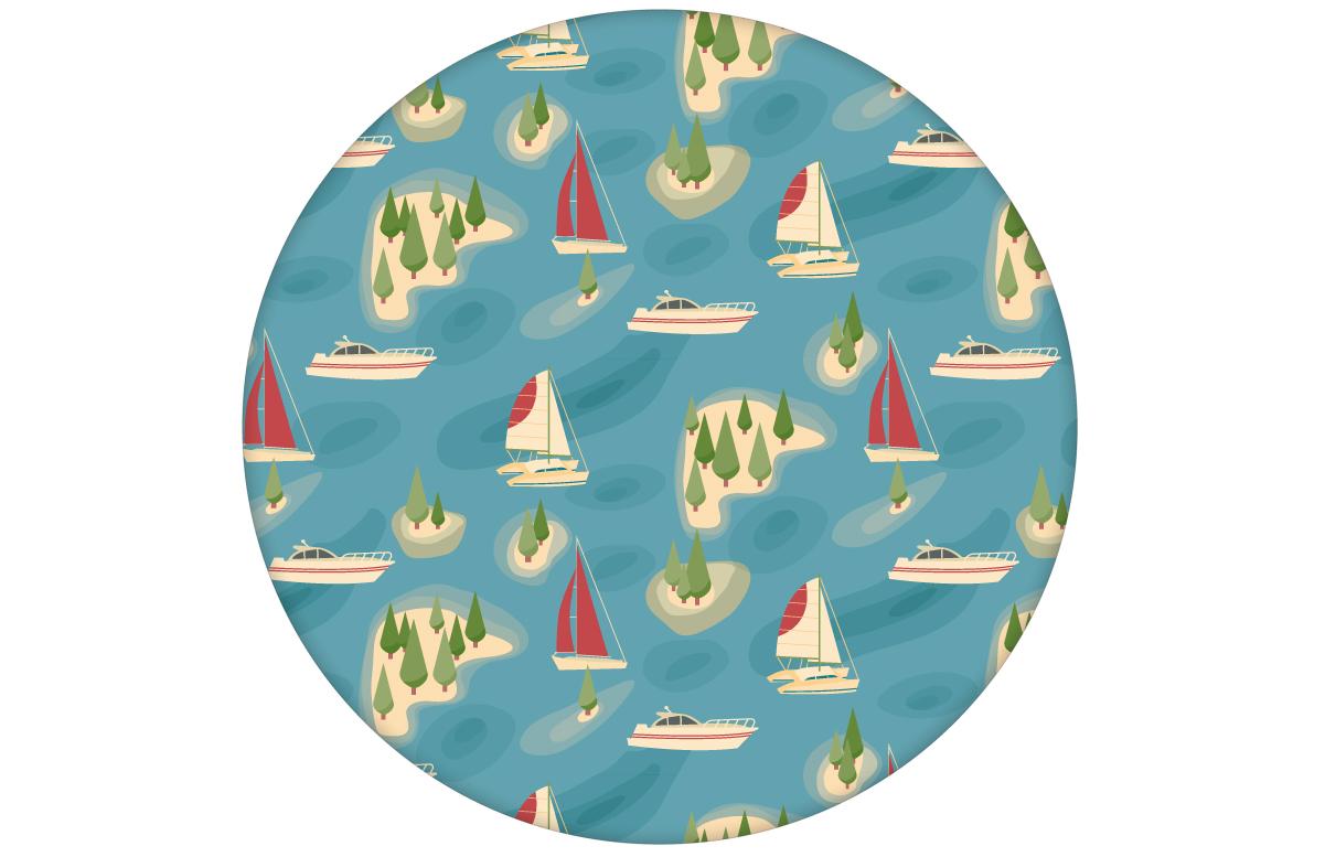 """Moderne blaue Vliestapete """"Insel Hopping"""" mit Yachten und Segel-Booten in rot"""