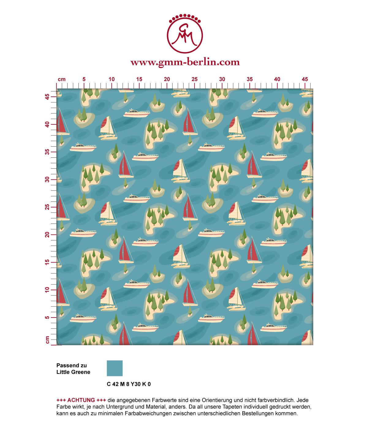 "Moderne blaue Tapete ""Insel Hopping"" mit Yachten und Segel-Booten in rot angepasst an Little Greene Wandfarben 3"
