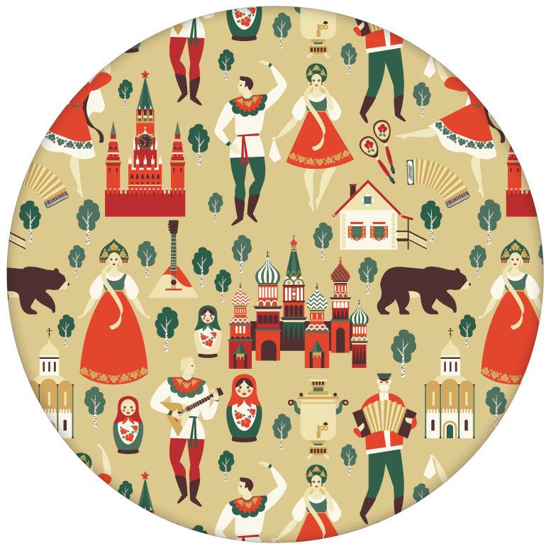 """Bunte lustige Design Tapete """"Kalinka"""" mit tanzenden Russen, Bären in gelbaus dem GMM-BERLIN.com Sortiment: beige Tapete zur Raumgestaltung: #FarrowandBall #gelb für individuelles Interiordesign"""