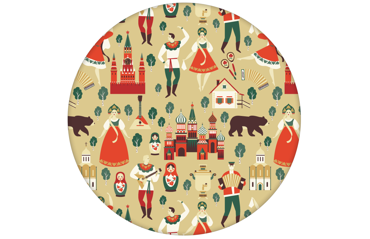 "Bunte lustige Tapete ""Kalinka"" mit tanzenden Russen in Tracht, Bären in gelb angepasst an Farrow & Ball Wandfarben"