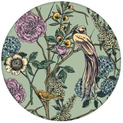 """florale Tapete """"Victorias Treasure"""" mit Paradies Vögeln und Blumen in grün - großer Rapport"""