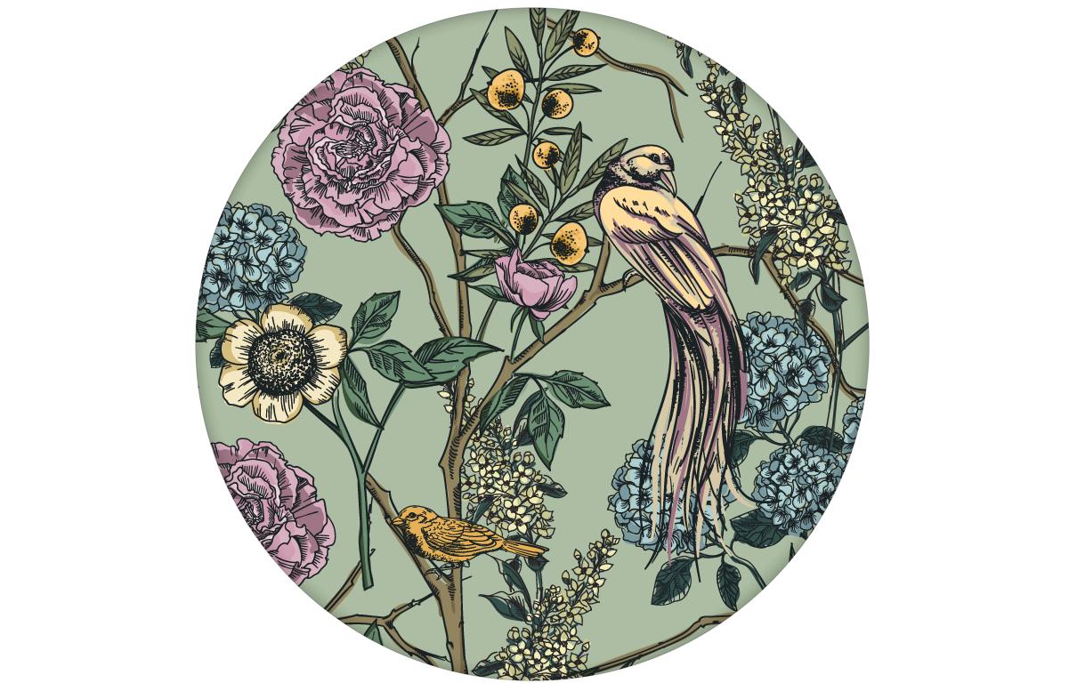 """florale Tapete """"Victorias Treasure"""" mit Paradies Vögeln und Blumen in grün - großer Rapport angepasst an Little Greene Wandfarben"""