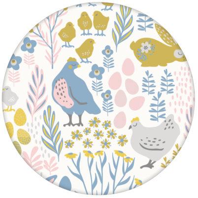"""Land Tapete """"Hoppelgarten"""" mit bunten Hühnern, Hasen und Blumen in Farbe 1 - große Wandgestaltung"""