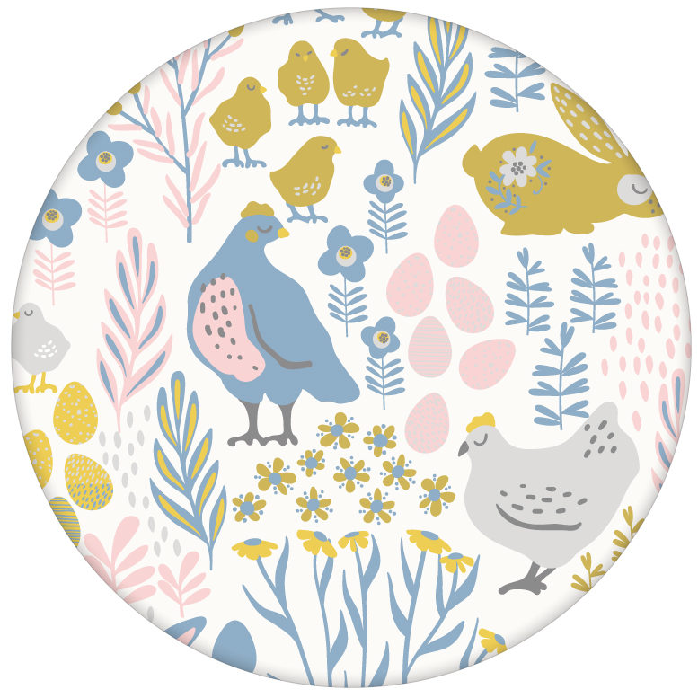 """Land Tapete """"Hoppelgarten"""" mit bunten Hühnern, Hasen und Blumen in Farbe - große Wandgestaltung aus den Tapeten Neuheiten Exklusive Tapete für schönes Wohnen als Naturaltouch Luxus Vliestapete oder Basic Vliestapete"""