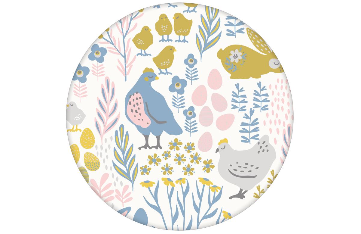 "Land Tapete ""Hoppelgarten"" mit bunten Hühnern, Hasen und Blumen in Farbe 1 - groß angepasst an Farrow & Ball Wandfarben"