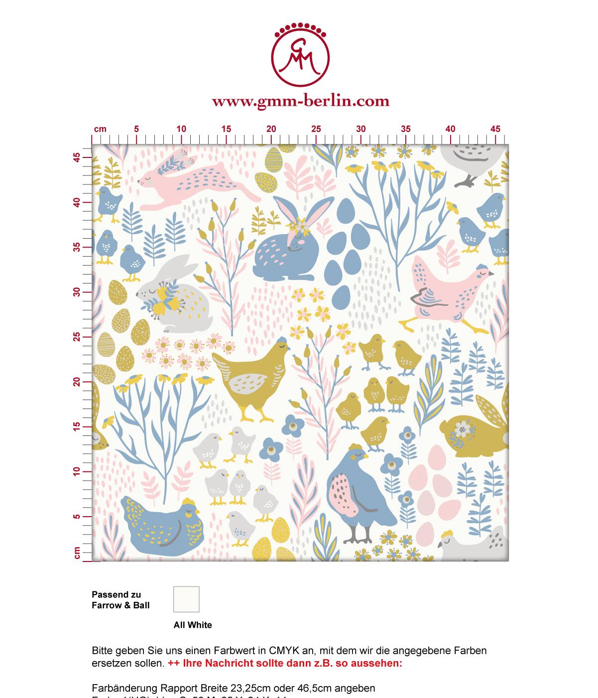 "Land Tapete ""Hoppelgarten"" mit bunten Hühnern, Hasen und Blumen in Farbe 1 - groß angepasst an Farrow & Ball Wandfarben 3"