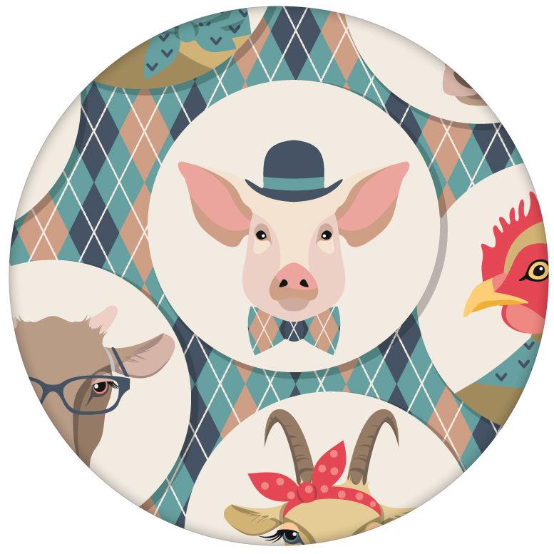 """Lustige Tapete """"Funny Portrait Gallery"""" mit Tieren auf Schotten Karo in hellblau - große Wandgestaltungaus dem GMM-BERLIN.com Sortiment: rosa Tapete zur Raumgestaltung: #hellblau für individuelles Interiordesign"""
