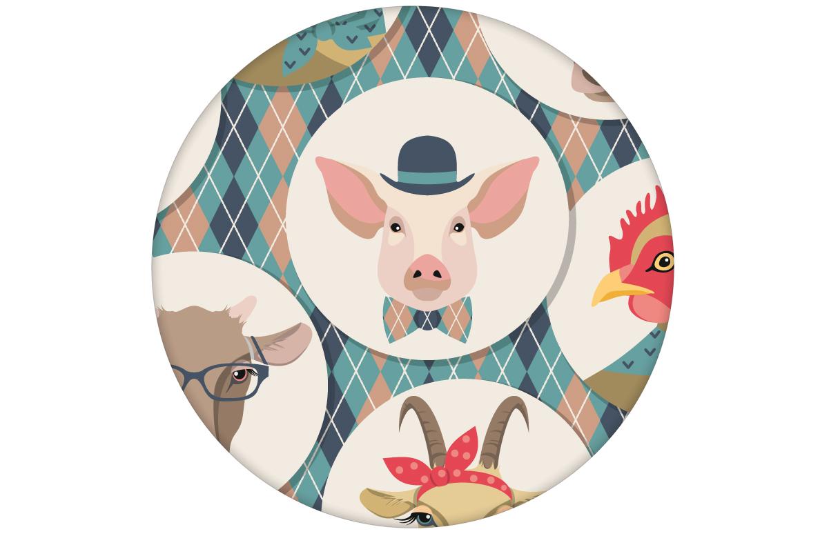 """Lustige Tapete """"Funny Portrait Gallery"""" mit Schweinen, Ziegen und Kühen auf Schotten Karo in hellblau - groß angepasst an CMYK Wandfarben"""