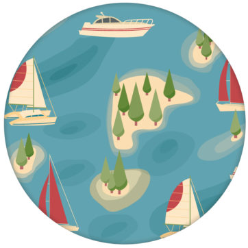 """blaue Design Vliestapete """"Insel Hopping"""" mit Yachten und Segel-Booten in rot - große Wandgetaltung"""