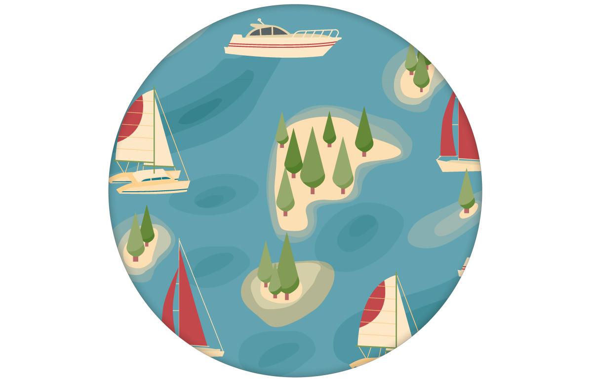 "blaue Tapete ""Insel Hopping"" mit Yachten und Segel-Booten in rot - groß angepasst an Little Greene Wandfarben"