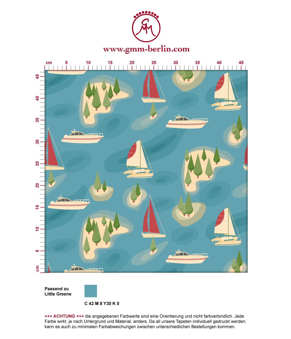 "blaue Tapete ""Insel Hopping"" mit Yachten und Segel-Booten in rot - groß angepasst an Little Greene Wandfarben 3"