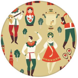 """Lustige Vliestapete """"Kalinka"""" mit tanzenden Russen, Bären in gelb - große Wandgestaltung"""