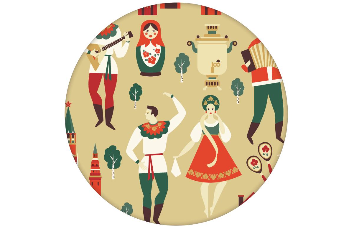 """Lustige Tapete """"Kalinka"""" mit tanzenden Russen in Tracht und russischen Bären in gelb - groß angepasst an Farrow & Ball Wandfarben"""