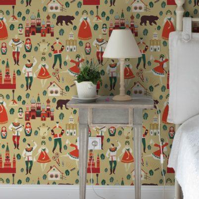"""Lustige Design Tapete """"Kalinka"""" mit Russen in Tracht und Bären in gelb - groß Vliestapete Schlafzimmer"""