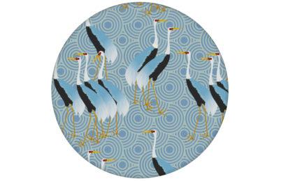 "Blaue Tapete ""Kraniche des Ibykus"" mit edlen Kranichen angepasst an Farrow and Ball Wandfarben"