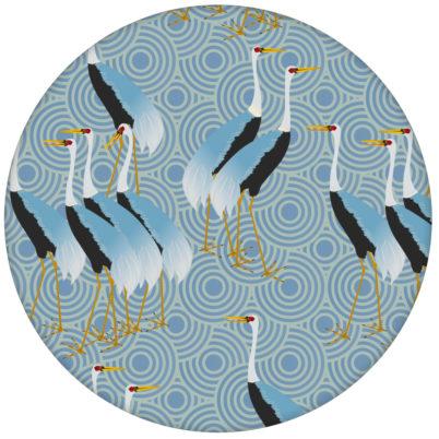 """Blaue Design Tapete """"Kraniche des Ibykus"""" mit edlen Kranichen für Wohnzimmer"""
