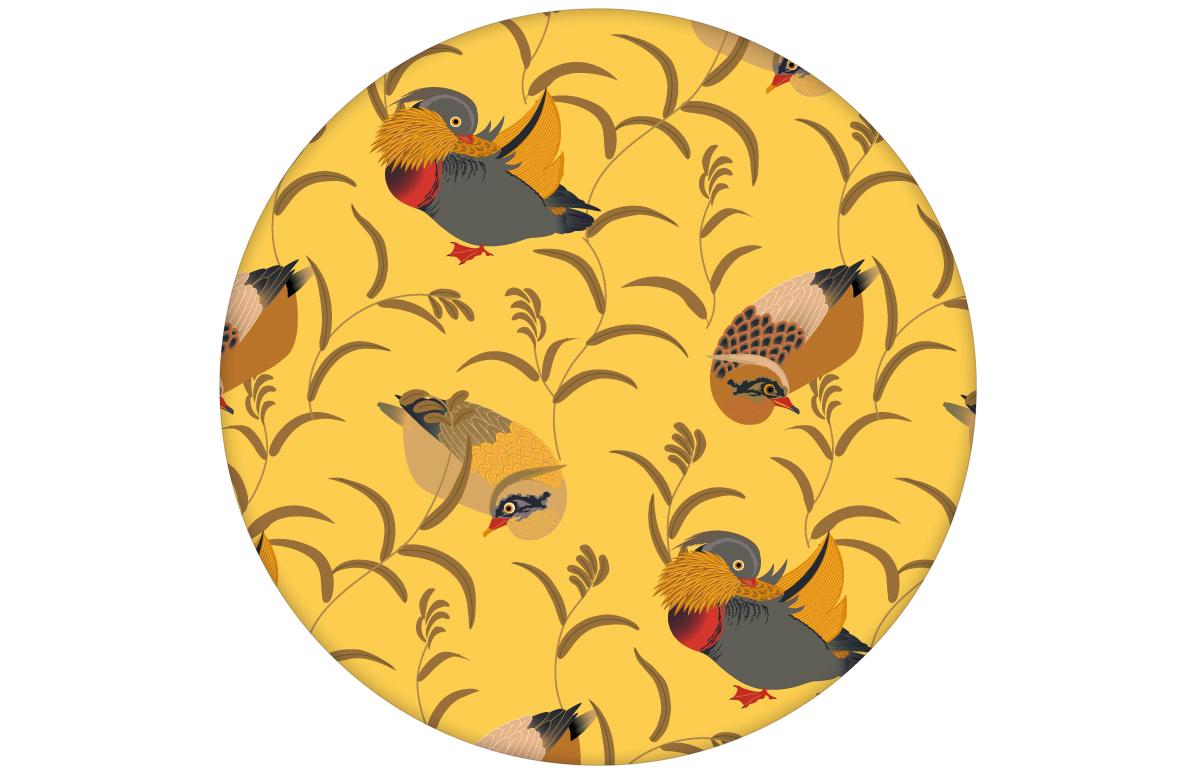 """Klassik Tapete """"Im Schlossteich"""" mit Enten im Schilf in gelb für Wohnzimmer"""