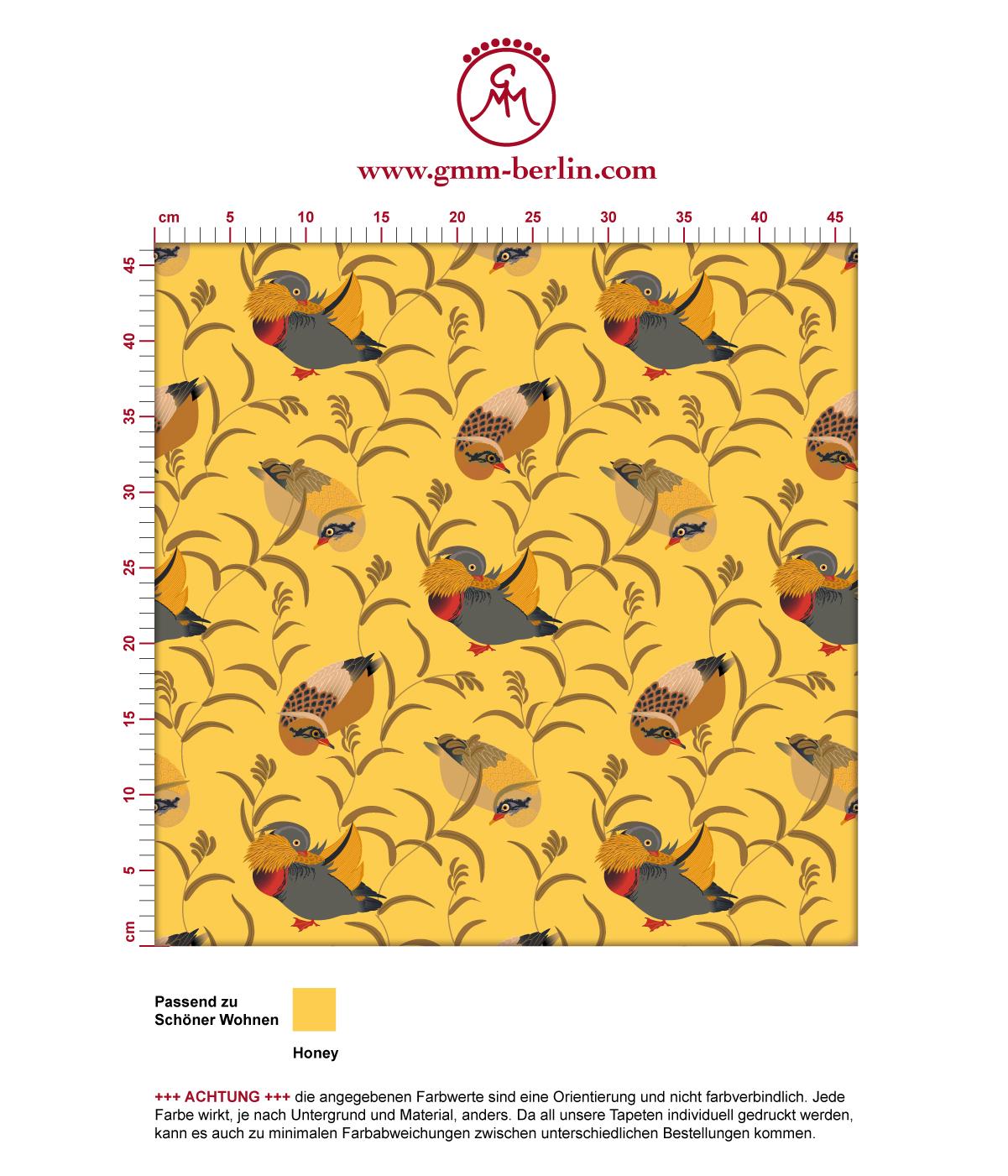 """Vlies Tapete """"Im Schlossteich"""" mit Enten im Schilf in gelb angepasst an Schöner Wohnen Wandfarben 3"""