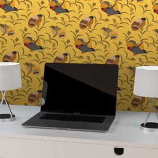 """Wandtapete gelb: Design Tapete """"Im Schlossteich"""" mit Enten im Schilf in gelb angepasst an Schöner Wohnen Wandfarben"""