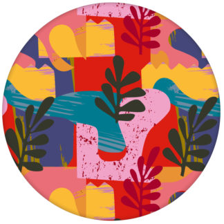 """Moderne Design Tapete """"Exotic Leaf"""" im Retro Stil der 70er in rot für Büro Küche"""