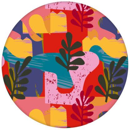 """Moderne Design Tapete """"Exotic Leaf"""" im Retro Stil der 70er in rot für Büro Kücheaus dem GMM-BERLIN.com Sortiment: gelbe Tapete zur Raumgestaltung: #beige #Blätter #Natur #Retro #rot #Scala #tapete für individuelles Interiordesign"""