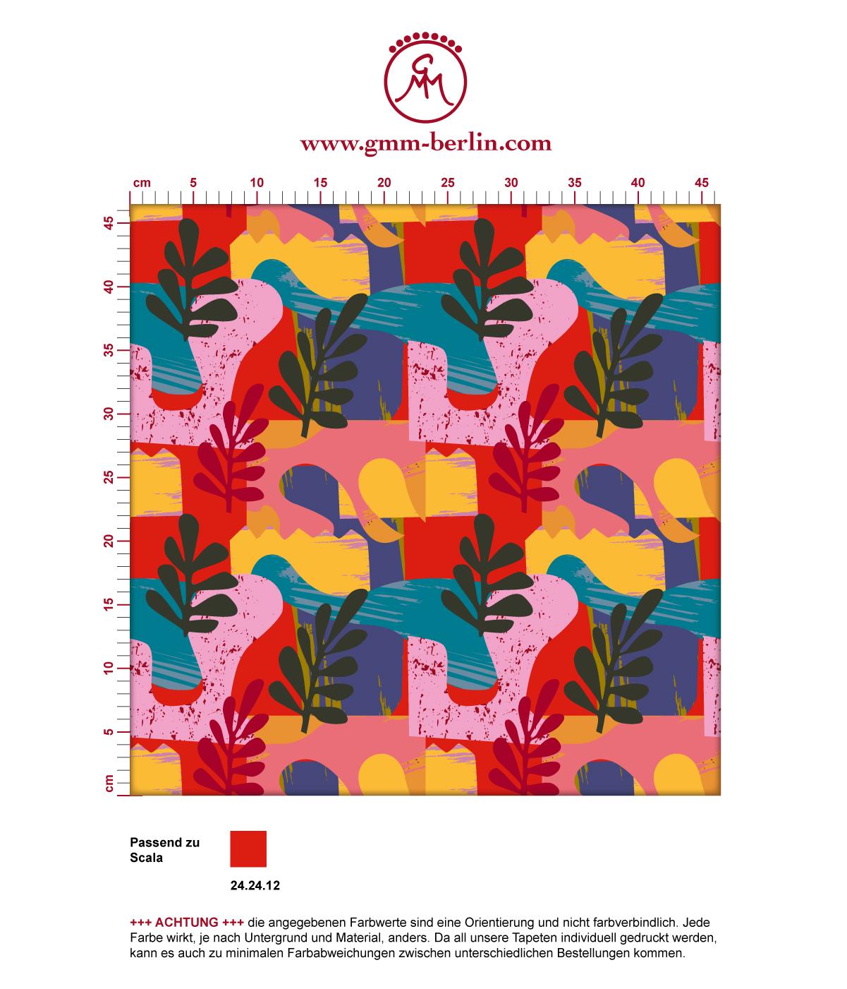 "Moderne Tapete ""Exotic Leaf"" im Retro Stil der 70er in rot angepasst an Scala Wandfarben 3"