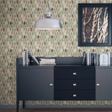 """Moderne Design Tapete """"Im Blätterwald"""" in beige Wandgestaltung Wohnzimmer"""