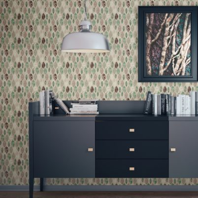 "Moderne Tapete ""Im Blätterwald""  in beige angepasst an Ikea Wandfarben"