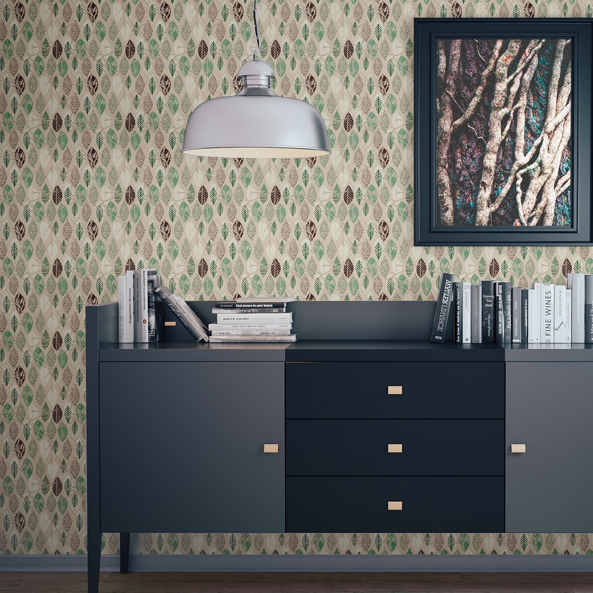 """Moderne Tapete """"Im Blätterwald"""" Beige Wohnzimmer"""