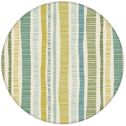 """Grüne """"Dotted Lines"""" Design Tapete mit bunten Streifen für Schalzimmer"""