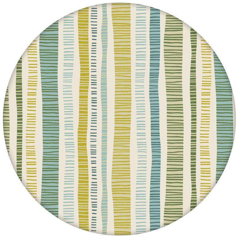 """Grüne """"Dotted Lines"""" Design Tapete mit bunten Streifen für Schalzimmeraus dem GMM-BERLIN.com Sortiment: grüne Tapete zur Raumgestaltung: #FarrowandBall #Grafik #gruen #modern #streifen #tapete für individuelles Interiordesign"""