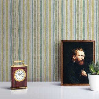 """Tapete Wohnzimmer erbsen grün: Grüne """"Dotted Lines"""" Streifentapete mit bunten Streifen für Wohnzimmer Büro Flur"""