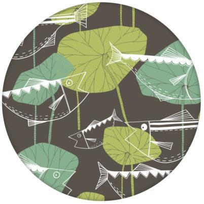 """""""Angler Glück"""" Retro Fisch Tapete im Stil der 70er Wandgestaltung braun aus den Tapeten Neuheiten Exklusive Tapete für schönes Wohnen als Naturaltouch Luxus Vliestapete oder Basic Vliestapete"""
