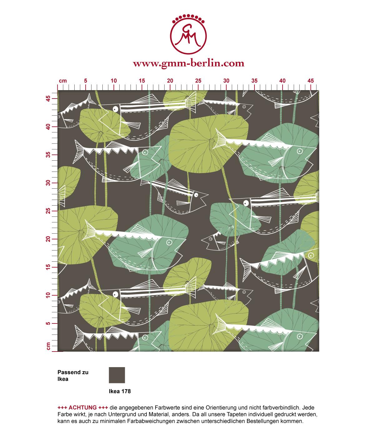"""""""Angler Glück"""" Retro Fisch Tapete im Stil der 70er in braun angepasst an Ikea Wandfarben 3"""