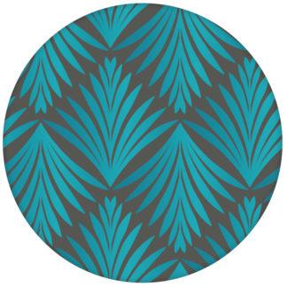 "Türkise Vlies Tapete ""Art Deco Akanthus"" mit Blatt Muster auf grau Ornament Wandgestaltung"
