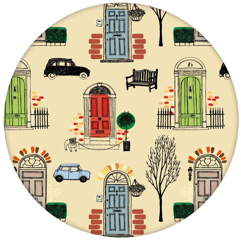 """""""Belgravia"""" bunte Design Tapete mit Londoner Türen, Mini und Cabs in hellblau aus den Tapeten Neuheiten Borten und Tapetenmotive als Naturaltouch Luxus Vliestapete oder Basic Vliestapete"""