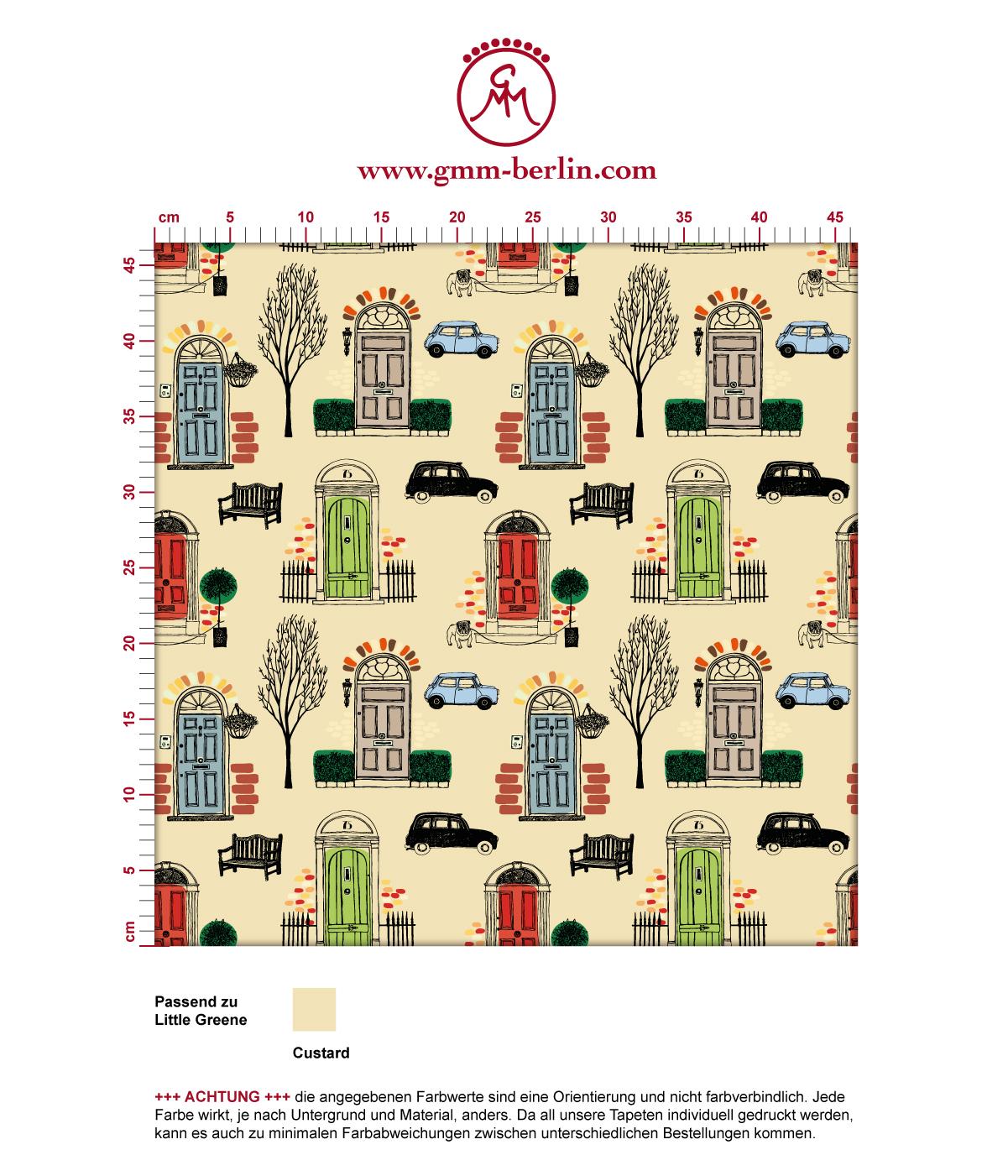 """Belgravia"" bunte Tapete mit Londoner Türen, Mini und Cabs in hellblau angepasst an Little Greene Wandfarben 3"