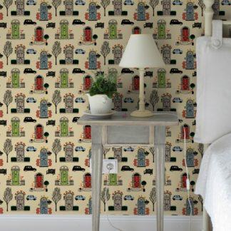 "Wandtapete gelb: ""Belgravia"" bunte Design Tapete mit Londoner Türen, Mini und Cabs in hellblau angepasst an Little Greene Wandfarben 2"