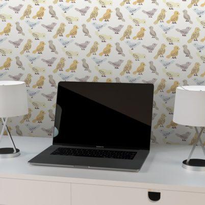 """Vogel Design Tapete """"Alle Vöglein"""" mit bunten Vögeln beige grau für Büro Küche Gang Kinderzimmer"""
