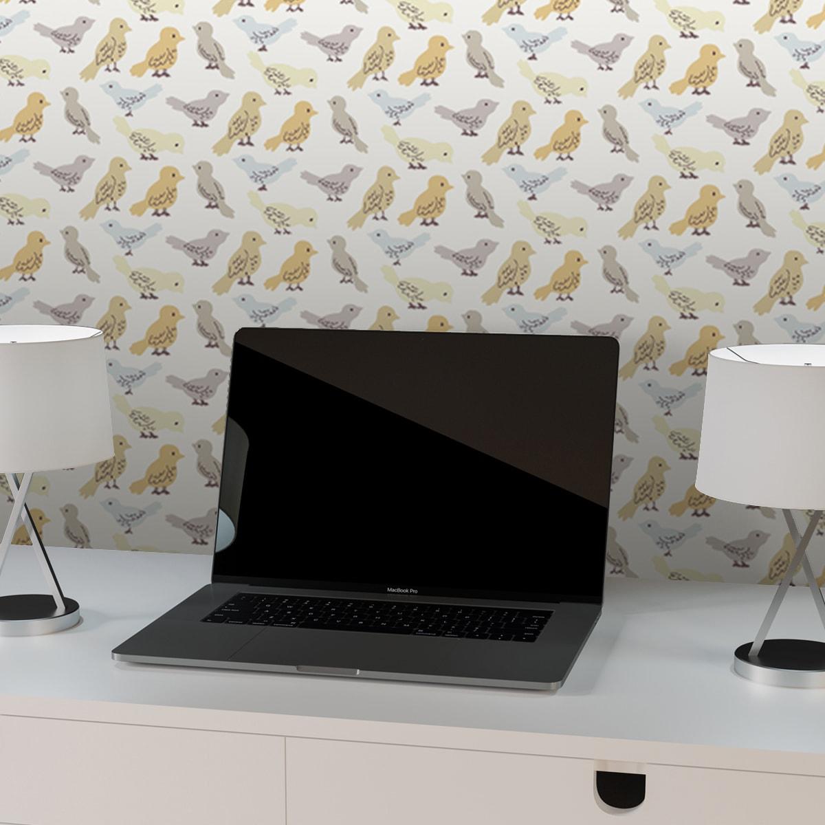 """Küchentapete weiss: Vogel Design Tapete """"Alle Vöglein"""" mit bunten Vögeln beige grau für Büro Küche Gang Kinderzimmer"""