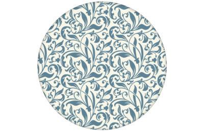 "florale Tapete ""Victorian Delight"" mit victorianischem Blatt Muster blau angepasst an Farrow and Ball Wandfarben"