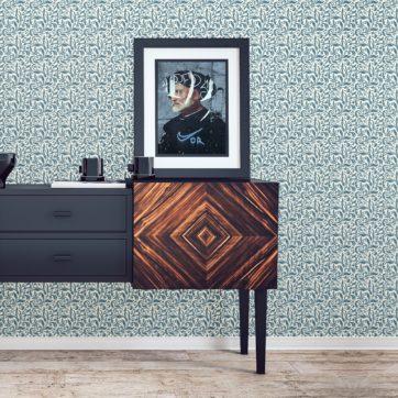 """florale Tapete """"Victorian Delight"""" mit Blatt Muster blau für Wohnzimmer Schlafzimmer"""