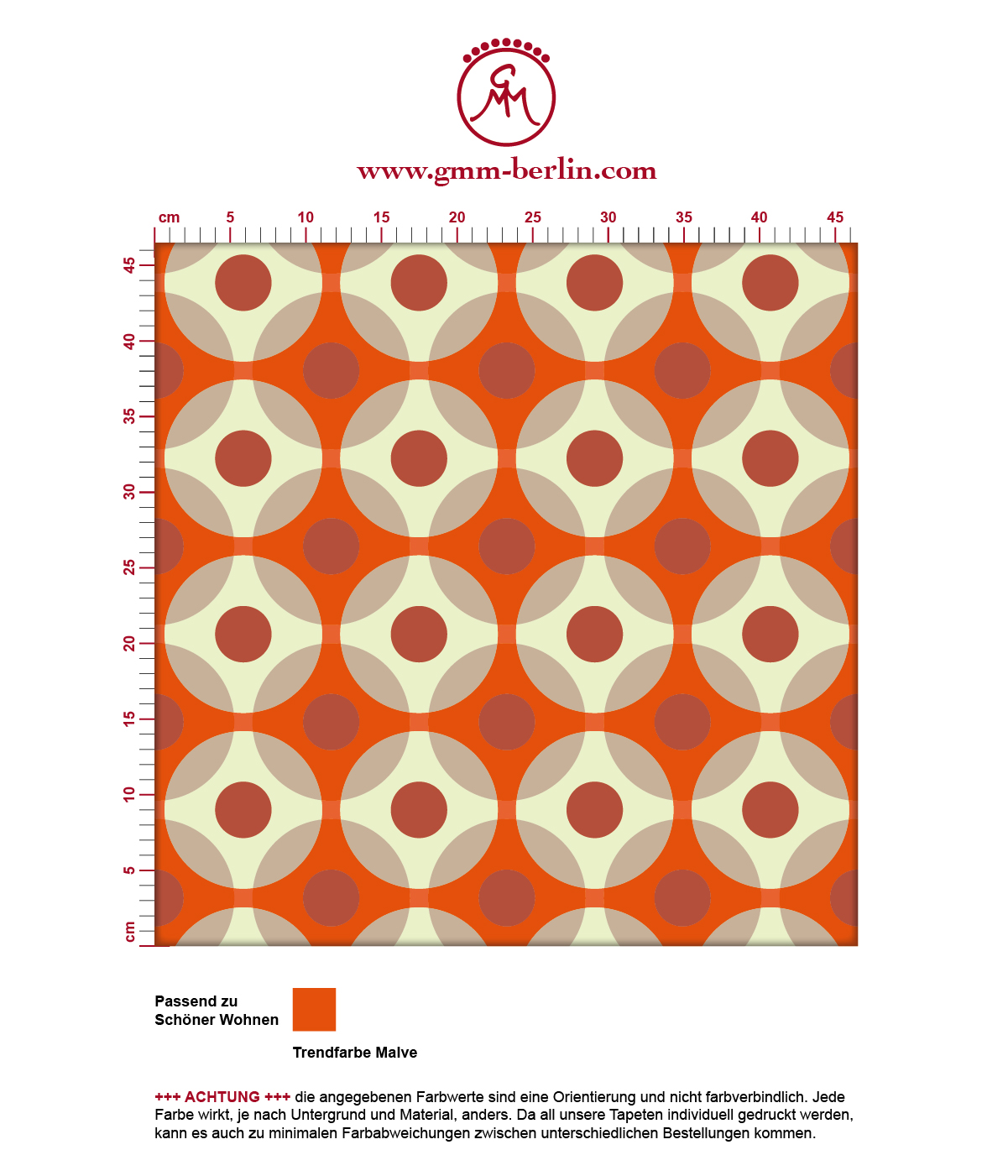 """Punkt Design Tapete """"Flower Dots"""" in orange Wandgestaltung Küche"""