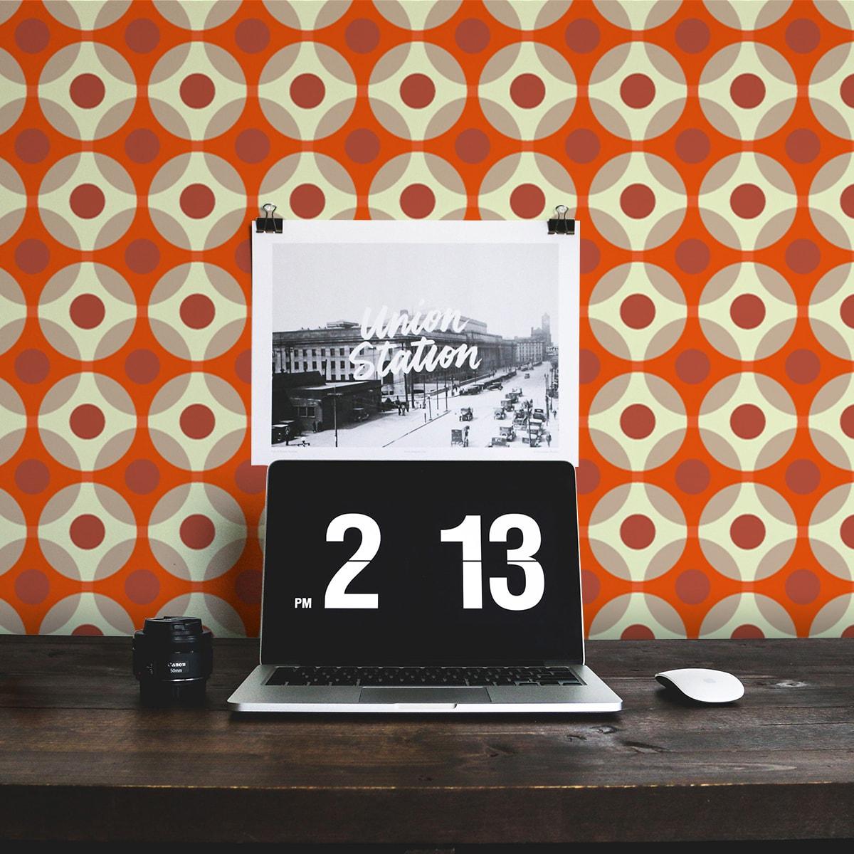 Küchentapete orange: Punkte Design Tapete