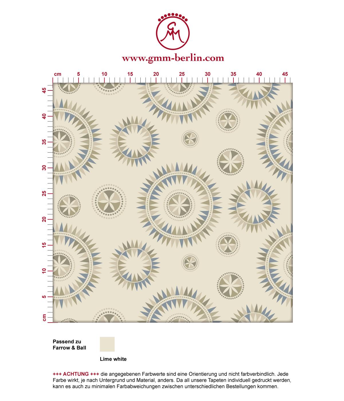"""Moderne Tapete """"Windrose"""" mit reduziertem nordischem Design in beige angepasst an Farrow & Ball Wandfarben"""
