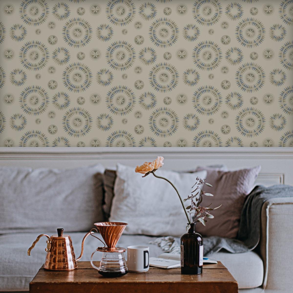 """Wandtapete creme: Moderne Design Tapete """"Windrose"""" im nordischen Design, beige Wandgestaltung"""