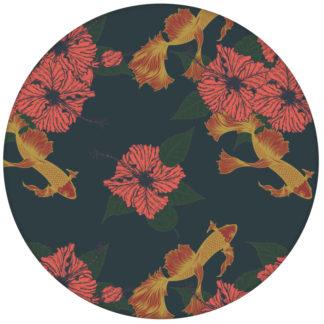 """Koi Tapete """"Le jardin japonais"""" mit Blick auf Teich in blau rot für Wohnzimmeraus dem GMM-BERLIN.com Sortiment: rote Tapete zur Raumgestaltung: #FarrowandBall für individuelles Interiordesign"""