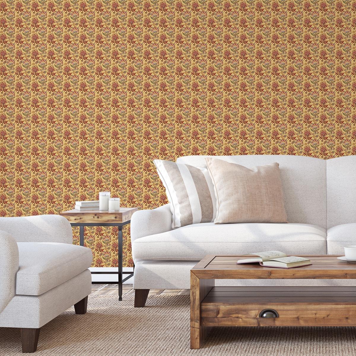 """Tapete Wohnzimmer gelb: Sonnige florale Tapete """"Little India"""" mit folklore Muster in gelb für Wohnzimmer"""