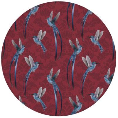 """Kolibri Tapete """"Damast-Elfen"""" mit Vögeln auf Damast Muster, rote Wandgestaltungaus dem GMM-BERLIN.com Sortiment: rote Tapete zur Raumgestaltung: #FarrowandBall #rot für individuelles Interiordesign"""
